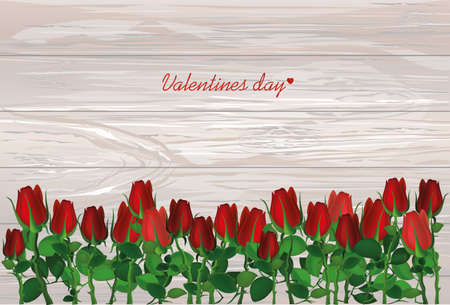 Beautiful red flowers. Roses. Empty space for your ad or inscriptions or messages. Postcard on Valentines wedding and birthday. Free place. Vector illustration on wooden background.