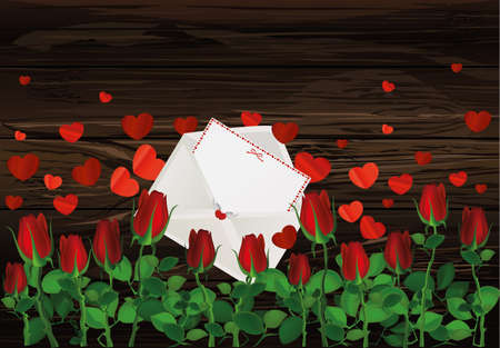 Beautiful red flowers. Roses with envelope and hearts. Empty space for your ad or inscriptions or messages. Postcard on Valentines wedding and birthday. Free place. Vector illustration on a wooden background.
