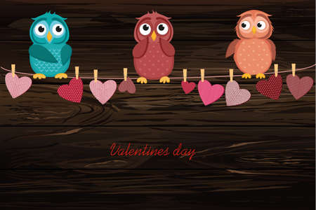 A red heart with a picture hanging on a rope. Cute owl sitting. Valentines Day. Vector illustration. Greeting card with empty space for the label or advertising. On a wooden background.