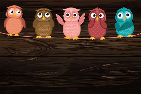 Five cute colored owlet sitting on a rope. A red hearts with a picture hanging on a rope.  Valentines Day. Vector illustration on wooden background. Greeting card with empty space for the label or advertising Illustration
