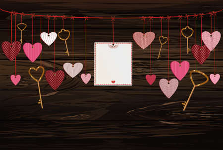 Red hearts and blank paper with a picture and keys hanging on ribbon. Valentines Day. Vector illustration. Greeting card with empty space for your label or advertising. On a wooden background.