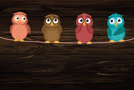 Four cute colored owlet sitting on a rope. A red hearts with a picture hanging on a rope. Valentines Day. Vector illustration on wooden background. Greeting card with empty space for the label or advertising.