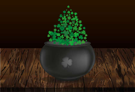 Clover inside the pot. A trefoil leaf flying comes out of the kettle. St.Patrick 's Day. Free space for your text or advertising. Greeting card or invitation. Vector illustration on wooden back. Ilustração