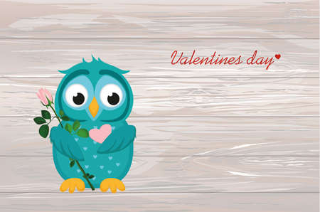 Cute blue owlet waiting to give a of flower pink rose and heart with empty space for your text or advertisement on a wooden background. Ilustração
