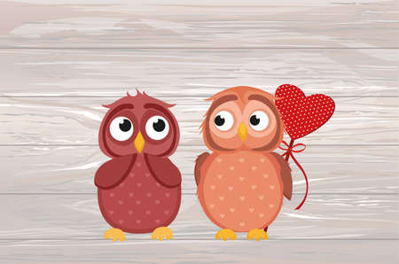Owlet Cute boy wants to give heart to the Valentines Day gift to girl owl. She is embarrassed and waiting. Greeting card. Empty space for your text or advertisement. Vector illustration on wooden background.