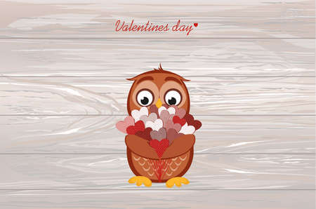 Cute owlet waiting to give a  of flowers of hearts as a gift for Valentine's Day. Greeting card. Empty space for your text or advertisement. Vector illustration on a wooden background.