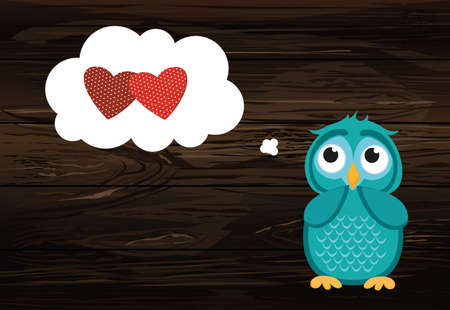 Cute owlet dreams of love. Owl thought. Greeting card for Valentines Day. Empty space for your text or advertisement. Vector illustration. Thinking bubble with hearts inside. Wooden back Illustration