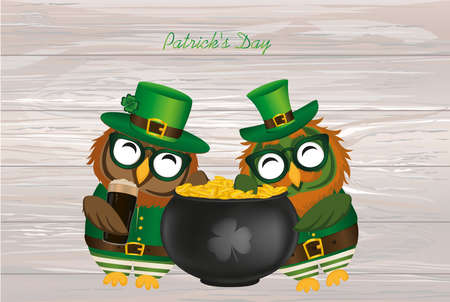Two happy owls with a pot of gold coins in a national costume and glasses for St. Patricks Day. The wing climbed into the cauldron. Greeting card for the holiday with a blank space for text or advertising. Invitation. Vector.