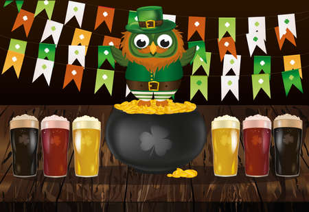 An owl in a national costume for a patrician's day stands on a pot of gold with a garland of flags. Celebration of beer. Greeting card for the holiday with copy  space for text or advertising. Invitation. Vector. Vettoriali