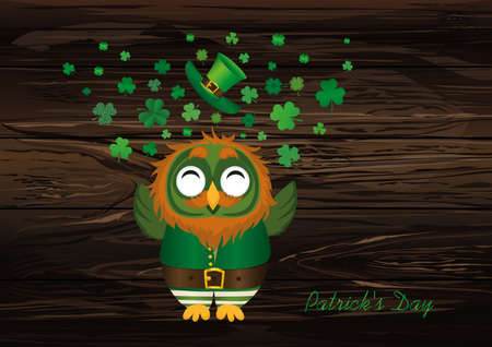 A happy owl with a beard in a suit and hat on St. Patricks day smiles and throws a lot of clover of the three-leafed wings. Greeting card or invitation. Vector illustration. Empty space for text labels and advertising.