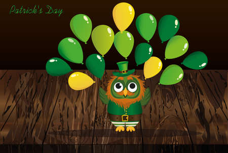 A happy owl with a beard in a suit and a hat on St. Patricks Day smiles and throws a lot of green balloons. Greeting card or invitation. Vector illustration. Empty space for text labels and advertising. Illustration