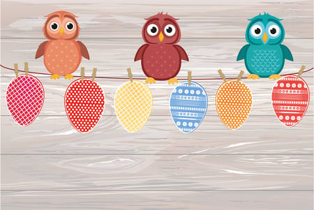Multicolored Easter eggs made of paper hanging on a rope and Cute owls sitting. Vector on wooden background. Illustration
