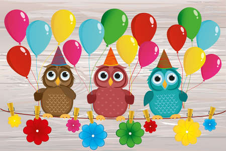 Three lovely owls sit on a rope and hold balloons. Hanging on clothespins are colored paper flowers. Holiday Birthday. Vector. Invitation to a holiday. Greeting card with blank space for labeling or advertising.