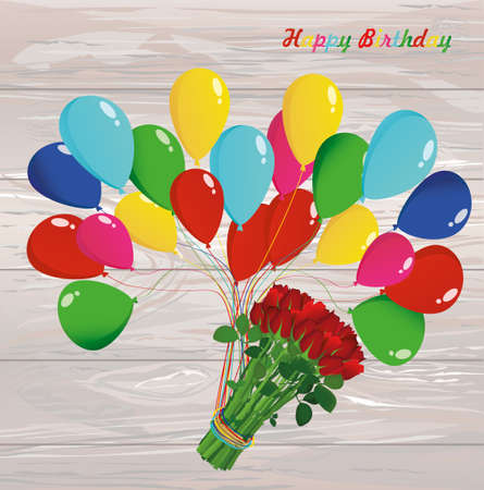 Inflatable multicolored balls lift up a bouquet of red flowers roses. Illustration