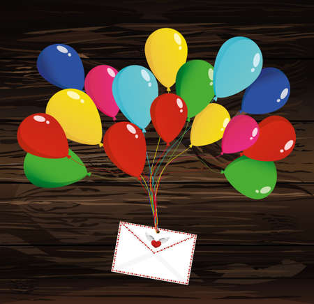 Air multicolored balloons lift up an envelope or letter with hearts.