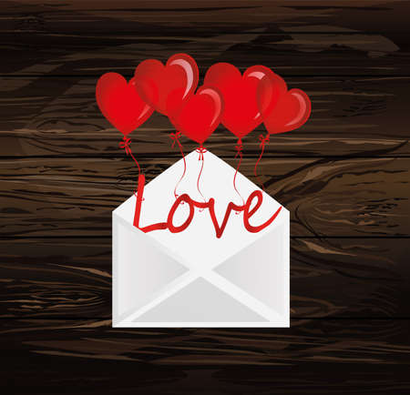 Letters of love on the balls in the form of a heart fly out of the envelope. Greeting card or invitation for a holiday. Vector on wooden background. Copy space for text.