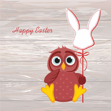 An owl is holding an Easter bunny from a paper on a stick Vector on wooden background. Greeting card or invitation for the holiday. Empty space for text.