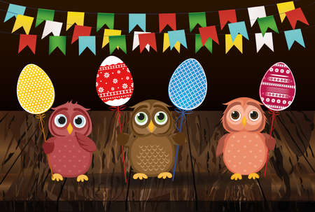 Owls keep Easter decorated eggs on a stick. Multicolored Vector on wooden background. Greeting card for the holiday. Empty space for text. Garland flags. Illustration