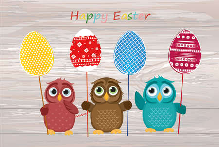 Owls keep Easter decorated eggs on a stick. Multicolored Vector on wooden background. Greeting card for the holiday. Empty space for text