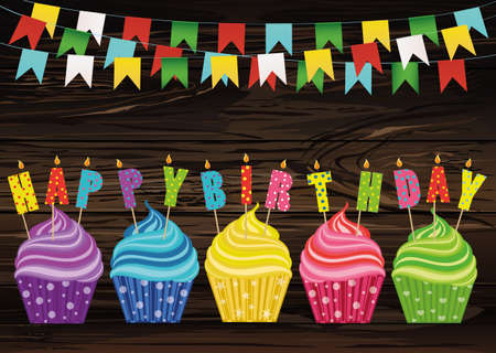 Multicolored Cupcakes With Letters And Words On The Birthday Candles Greeting Card Or Invitation