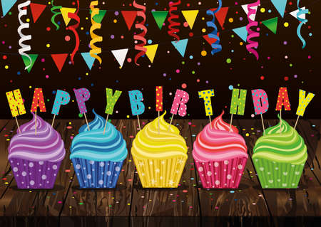Multicolored cupcakes with letters and words with a birthday. Garland with flags and confetti. Greeting card or invitation. Vector on wooden background. Free space for text or advertising.