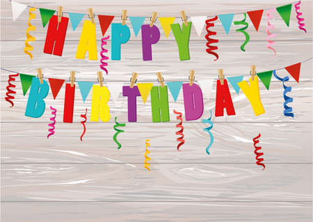 The letters of Happy Birthday hang on clothespins on a rope. Garland of a flag and colorful confetti. Vector on wooden background. Postcard or invitation for a holiday. Illustration