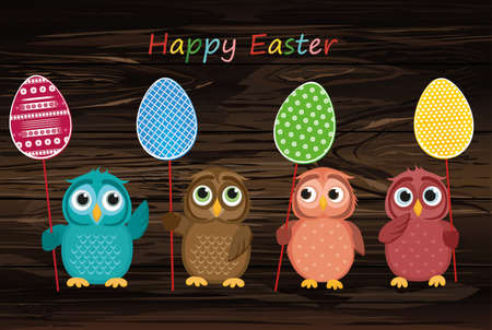 Owls keep Easter decorated eggs on a stick.