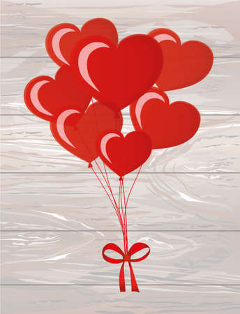 Balloons in the shape of heart bandaged with ribbon and bow, for a holiday and birthday and a party. Red inflatable balls. Invitation. Free space for text or text. Vector on wooden background.
