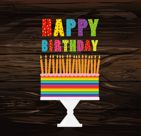 A festive multicolored and iridescent big cake with candles on a stand. Happy Birthday. Greeting card or invitation for a holiday. Vector on wooden background. Illustration