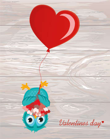 Greeting card or invitation for a birthday and a holiday. The owl with Bouquet of hearts hanging upside down on balloons. Vector on wooden background. Empty space for text and advertising.