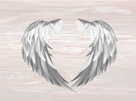 Wings. Vector illustration on wooden background. Black and white style. Stock Vector - 103534956
