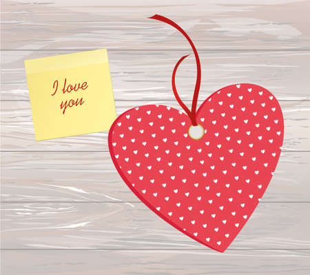 Red hearts with bow and ribbon. Yellow sheet of paper for notes.