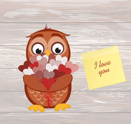 Cute owlet waiting to give a  of flowers of hearts as a gift for Valentine's Day. Yellow sheet of paper for notes. Sticker.I love you. Greeting card. Vector illustration on a wooden background.