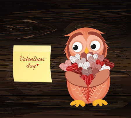 Cute owlet waiting to give a of flowers of hearts as a gift for Valentine's Day.