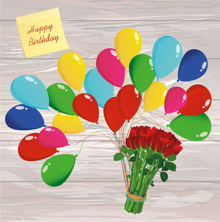 Inflatable multicolored balls lift up a bouquet of red flowers roses. Yellow sheet of paper for notes. Sticker. Valentine's Day. Love. Vector on wooden background. Greeting card or invitation for a holiday.