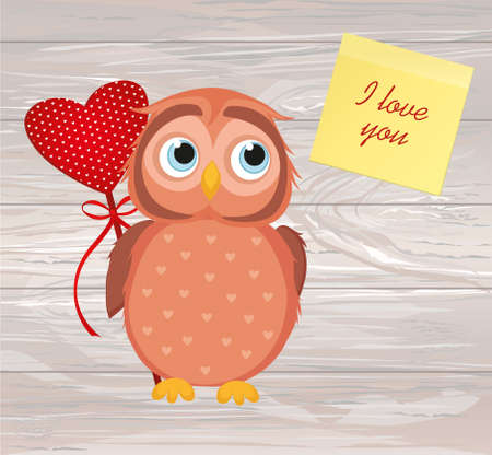 Cute owlet waiting to give heart a gift for Valentine's Day. Greeting card. Empty space Yellow sheet of paper for notes. I love you. Vector illustration on a wooden background. Stock Illustratie
