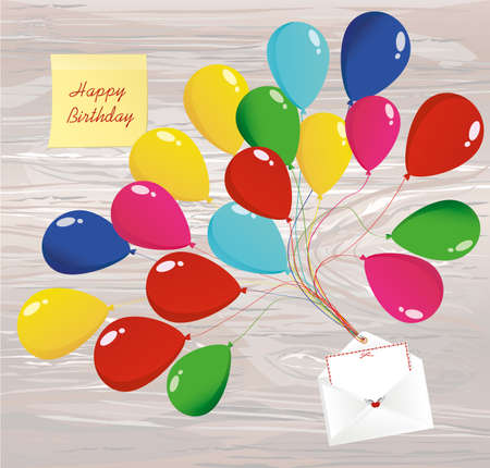 Air multicolored balloons lift up an envelope or letter with hearts. Yellow sheet of paper for notes. Sticker. Vector on wooden background. Greeting card or invitation for a holiday.