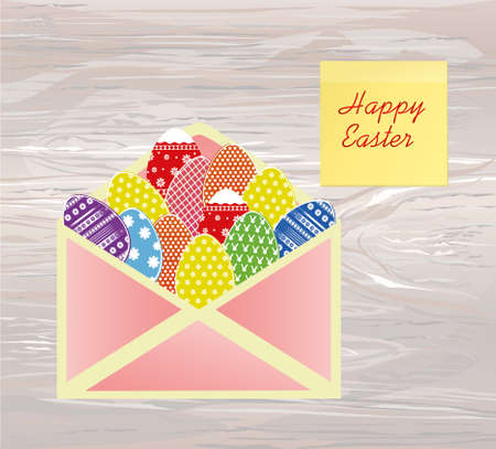 Open envelope with Easter colored eggs with a pattern. Yellow sheet of paper for notes. Sticker. Greeting card for the holiday. Vector illustration on wooden background.