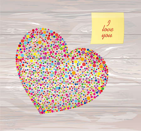 Multicolored rainbow confetti in the shape of a heart. Yellow sheet of paper for notes. Sticker.Vector on wooden background. Love. Postcard or invitation for a holiday. Valentines Day.