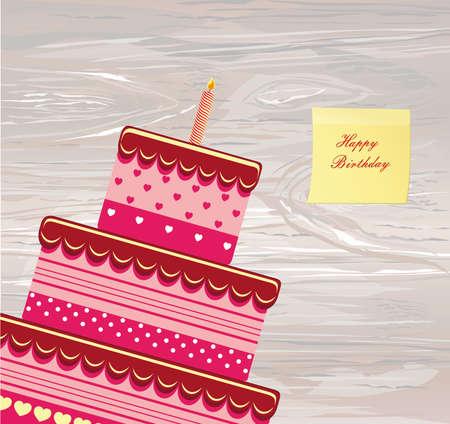 Festive Big Cake Happy Birthday Empty Yellow Sheet Of Paper