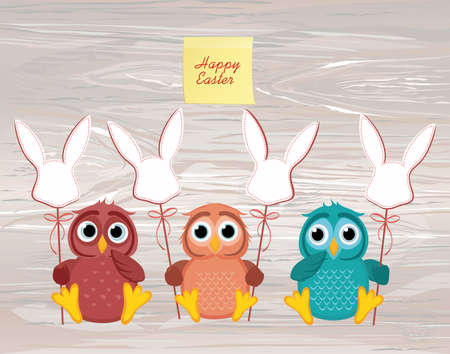 An owls is holding an Easter bunny from a paper on a stick. Vector on wooden background. Greeting card or invitation for the holiday. Empty Yellow sheet of paper for notes. Sticker.