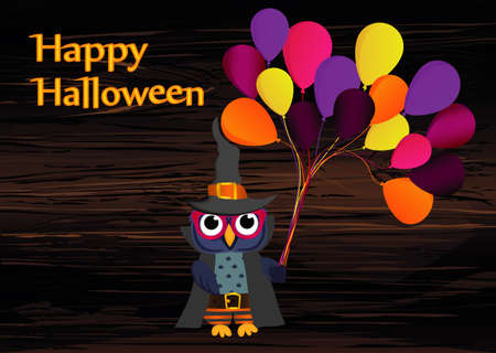 Halloween. Owl in a hat with balloons of traditional colors. Empty place for text. Vector illustration. Poster on wooden background .