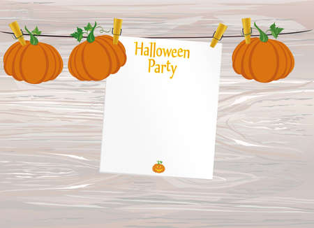 Halloween. Empty blank invitation for a party with a pumpkin hanging on clothespins. Vector on wooden background. The Feast of October and Autumn. 矢量图像