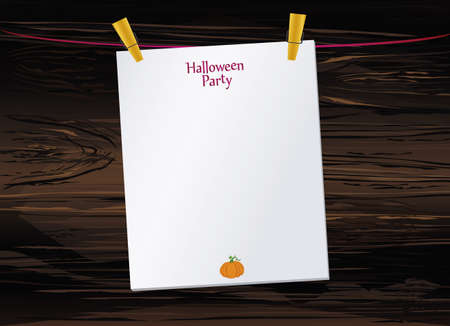 Halloween. Empty blank invitation for a party with a pumpkin hanging on clothespins. Vector on wooden background. The Feast of October and Autumn. Illustration