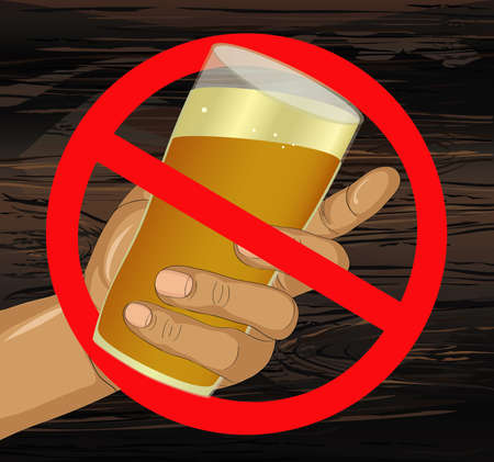 Stop the alcohol. A man offers a drink, holding a glass with beer in his hand.  Prohibiting red sign. Vector on wooden background.