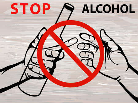 Stop the alcohol. A man offers a drink, holding a bottle in his hand.Vector.Prohibiting red sign. Posteron wooden background. Ilustração