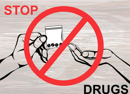 Concept without drugs. Decline the tablets. The hand gives drugs. Vector on wooden background. Prohibition sign. Poster. Vettoriali
