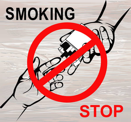 No smoke. Reject the offer of cigarettes. The concept of tobacco control. A pack of cigarettes in hand with a prohibitory sign. Vector. Poster on a wooden background.