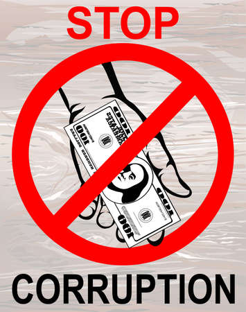 Corruption. Hand Keeps money dollars. Vector. Poster on the wooden background.