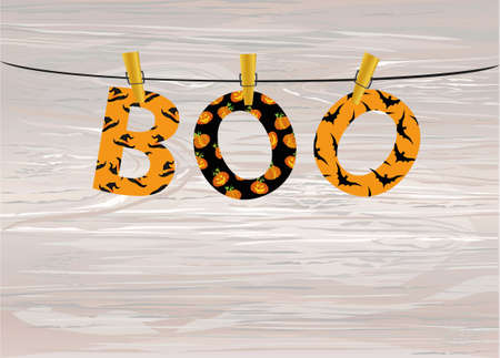 The letters and the inscription of a boo Halloween hang on clothespins on a rope or string. Vector on wooden background. Festive garland. Greeting card or invitation to a party.